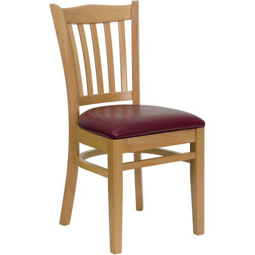 Our Natural Wood Finished Vertical Slat Back Wooden Restaurant Chair with Burgundy Vinyl Seat is on sale now.