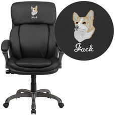 Embroidered High Back Black Leather Executive Swivel Chair with Lumbar Support Knob with Arms