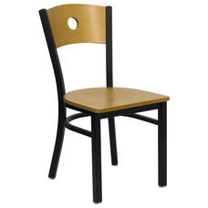 Black Circle Back Metal Restaurant Chair with Natural Wood Back & Seat