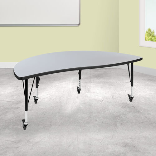 "Our Mobile 60"" Half Circle Wave Collaborative Grey Thermal Laminate Activity Table - Height Adjustable Short Legs is on sale now."