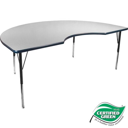 Advantage 48 in. x 72 in. Kidney-shape Adjustable Activity Table