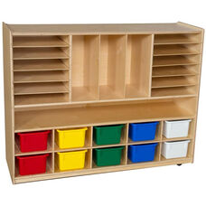 Wooden Mobile Multi-Storage Unit with 10 Assorted Plastic Storage Trays - 48
