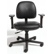 Triton Plus Medium Back Desk Height Cleanroom ESD Chair with 350 lb. Capacity - 6 Way Control - Rhino Plus ESD Black Urethane