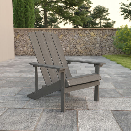 Charlestown All-Weather Poly Resin Wood Adirondack Chair in Gray