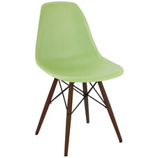 Trige Mid Century Lorem Green Armless Side Chair with Walnut Wood Base - Set of 2