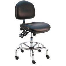 Deluxe ESD Cleanroom Class 100 - Anti Static Vinyl Chair - Chrome Base