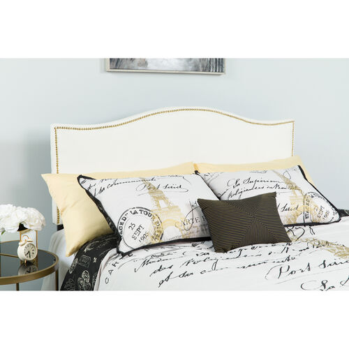 Our Lexington Upholstered King Size Headboard with Accent Nail Trim in White Fabric is on sale now.