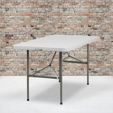 5-Foot Bi-Fold Granite White Plastic Folding Table