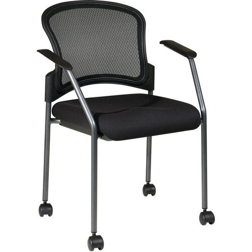 Our Pro-Line II ProGrid Mesh Back with Padded Fabric Seat Visitors Stack Chair with Casters - Black is on sale now.