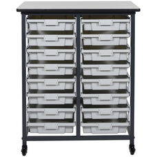 Mobile Double Row Storage Unit with 16 Small Gray Bins - Black - 30.5