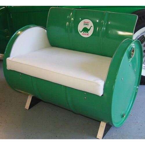 Sinclair Gasoline Steel Drum Armchair with White Accents