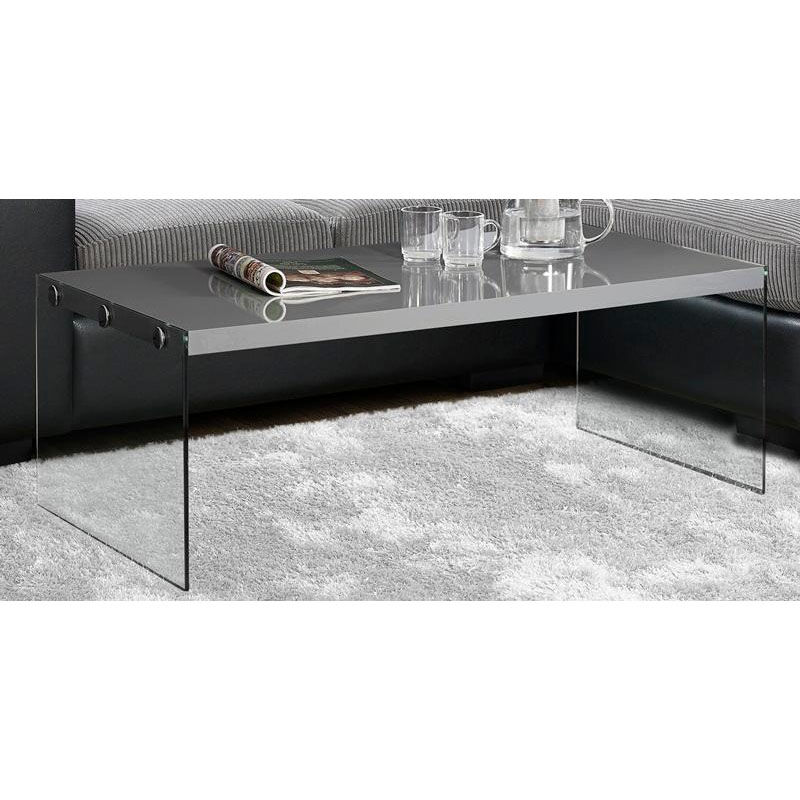 ... Our Modern 44u0027u0027W Coffee Table With Tempered Glass Base   Glossy Gray Is