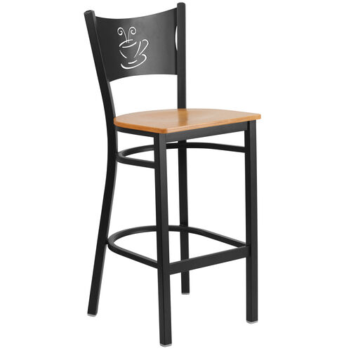 Our Black Coffee Back Metal Restaurant Barstool with Natural Wood Seat is on sale now.