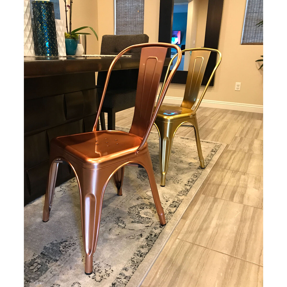 Dreux Light Rose Gold Stackable Steel Side Chair Set Of 4 Inset 3
