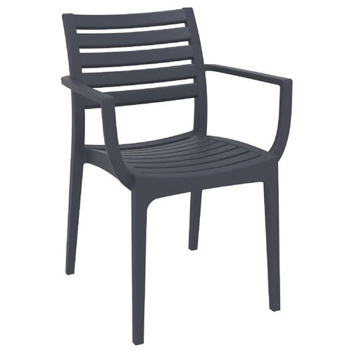 Our Artemis Resin Outdoor Stackable Dining Arm Chair - Dark Gray is on sale now.