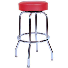 50's Retro Backless 24''H Swivel Bar Stool with Chrome Frame and Padded Seat - Red Vinyl