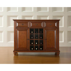 Buffet Server and Sideboard Cabinet with Wine Storage with Cambridge Style Feet - Classic Cherry Finish