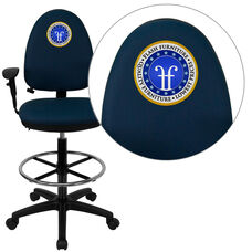 Embroidered Mid-Back Navy Blue Fabric Multifunction Ergonomic Drafting Chair with Adjustable Lumbar & Arms
