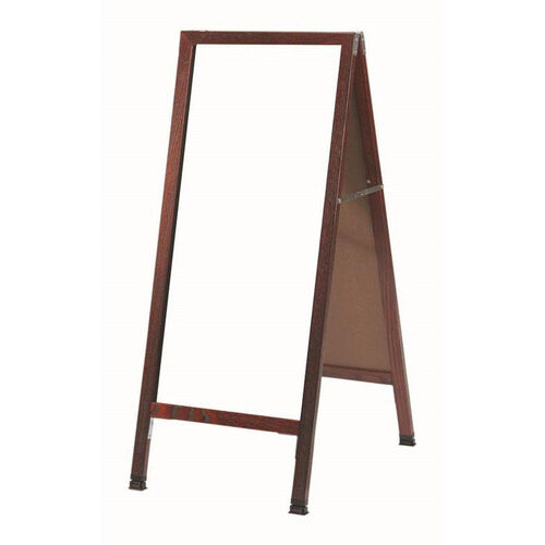 Our A-Frame Sidewalk White Melamine Marker Board with Cherry Stained Solid Red Oak Frame - 42