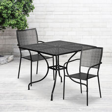 "Commercial Grade 35.5"" Square Black Indoor-Outdoor Steel Patio Table Set with 2 Square Back Chairs"