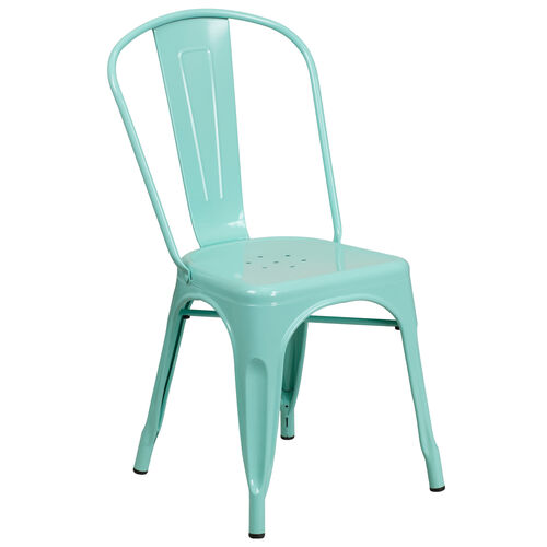Our Commercial Grade Mint Green Metal Indoor-Outdoor Stackable Chair is on sale now.