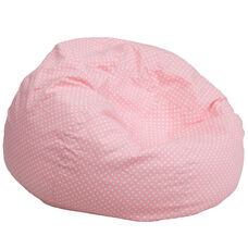 Oversized Light Pink Dot Bean Bag Chair for Kids and Adults