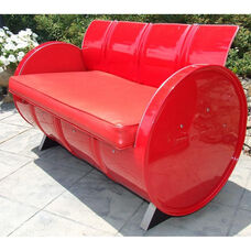 Very Red Steel Drum Loveseat with Red Accents