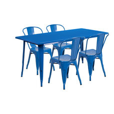 "Commercial Grade 31.5"" x 63"" Rectangular Blue Metal Indoor-Outdoor Table Set with 4 Stack Chairs"
