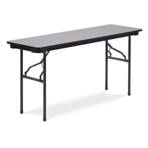 Our Quick Ship 6000 Series Traditional Rectangular Folding Table with Gray Nebula Top and Black Frame - 18