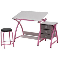 Comet Craft and Storage Center with Stool - Pink and Splatter Gray