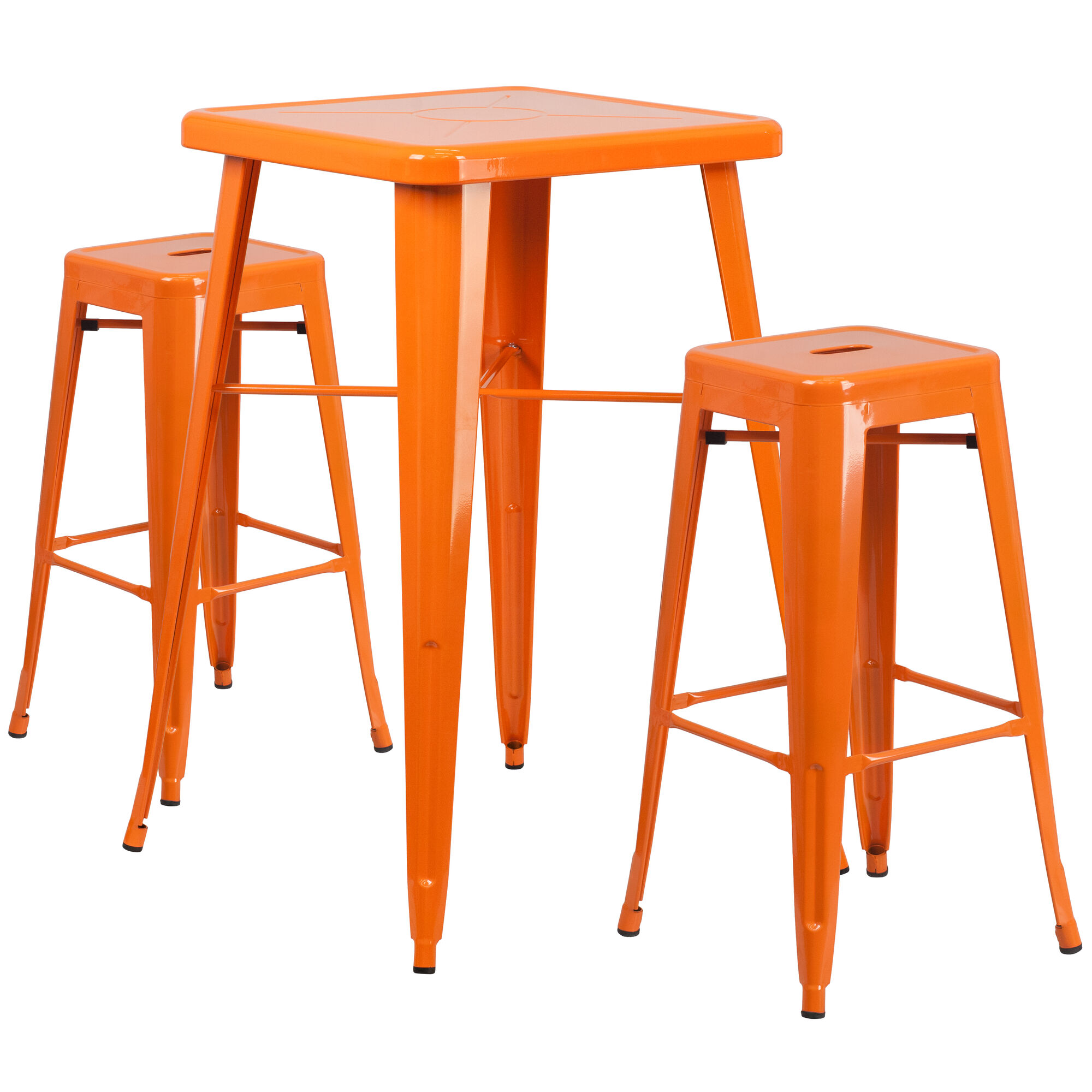 Flash Furniture 23 75 Square Orange Metal Indoor Outdoor