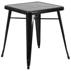 "Commercial Grade 23.75"" Square Black Metal Indoor-Outdoor Table"