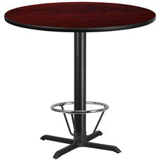 42'' Round Mahogany Laminate Table Top with 33'' x 33'' Bar Height Table Base and Foot Ring