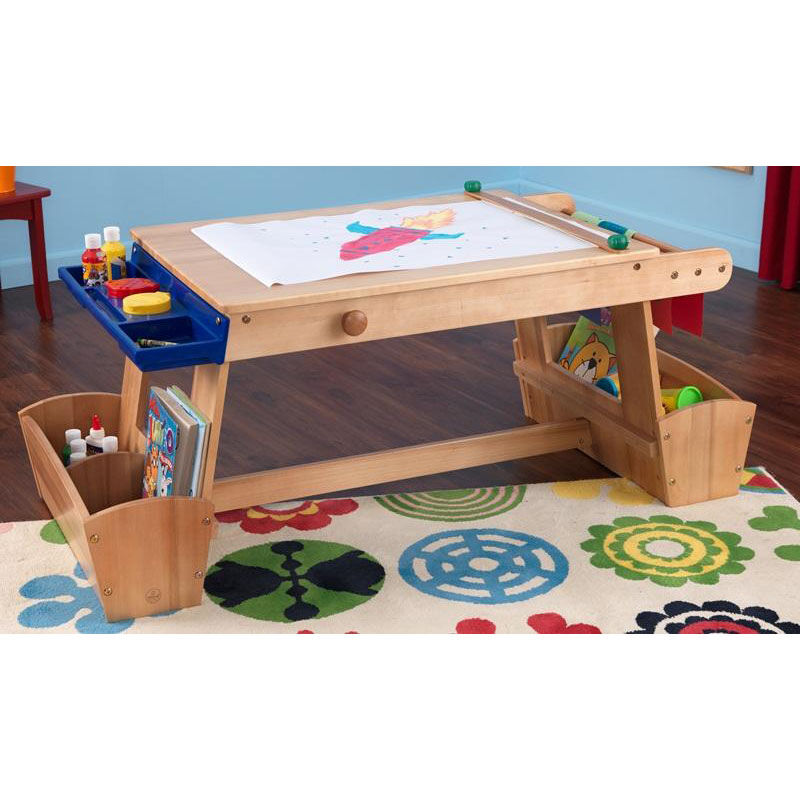 Kids Solid Wood Art Table With Drying Rack And Four Storage Compartments    Natural