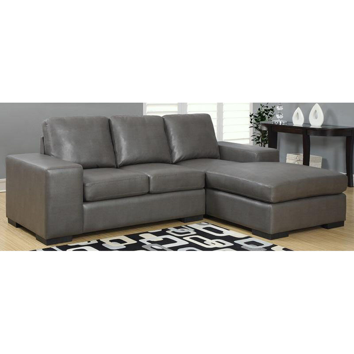 Our Bonded Leather Sofa With Lounger Charcoal Gray Is On Now