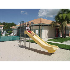 Yellow Powder Coat Paint Finished Weather Resistant Polyethylene Super Slide with Steel Frame and Ladder - 24