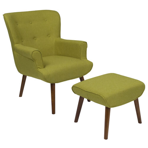 Our Bayton Upholstered Wingback Chair with Ottoman in Green Fabric is on sale now.