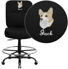 Embroidered HERCULES Series Big & Tall 400 lb. Rated Black Fabric Ergonomic Drafting Chair with Rectangular Back