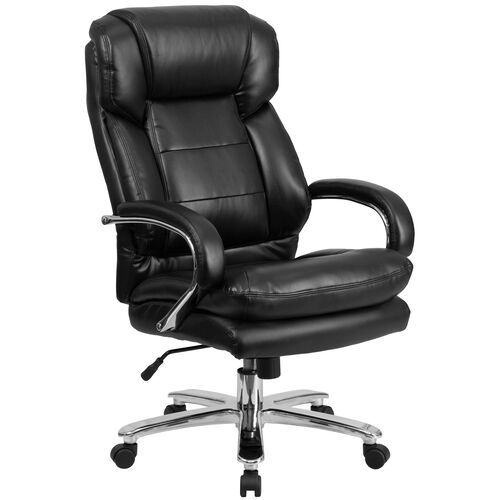 Our HERCULES Series 24/7 Intensive Use Big & Tall 500 lb. Rated Black Leather Swivel Ergonomic Office Chair with Loop Arms is on sale now.