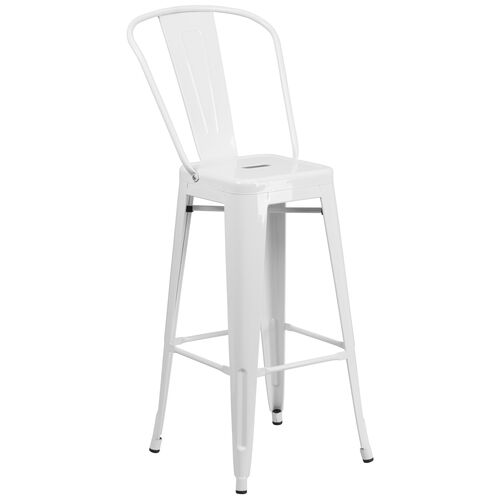 "Our Commercial Grade 30"" High White Metal Indoor-Outdoor Barstool with Back is on sale now."
