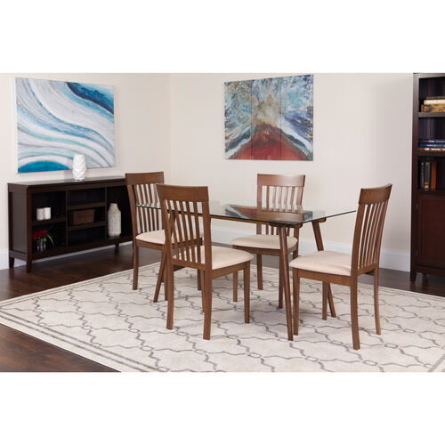"Our Montebello 5 Piece 31.5"" x 55"" Rectangular Glass/Espresso Wood Table Set with Rail Back Wood Dining Chairs - Padded Seats is on sale now."