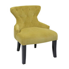 Ave Six Curves Hour Glass Velvet Accent Chair with Solid Wood Legs - Basil