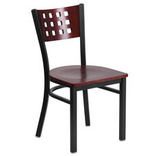 Black Decorative Cutout Back Metal Restaurant Chair with Mahogany Wood Back & Seat