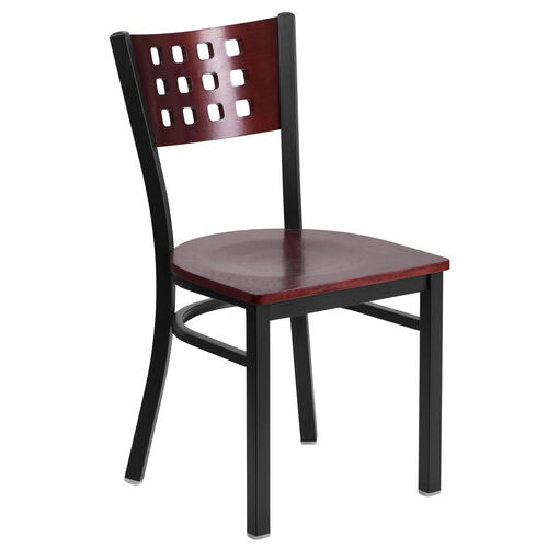 Our Black Decorative Cutout Back Metal Restaurant Chair with Mahogany Wood Back & Seat is on sale now.