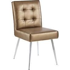 Ave Six Amity Tufted Dining Chair with Chrome Legs - Sizzle Copper