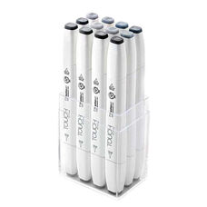 ShinHan Art TOUCH Twin Brush 12-Piece Blue Gray and Green Gray Marker Set
