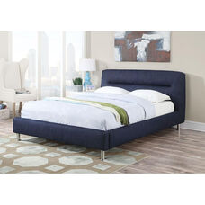 Adney Padded Denim Bed with Horizontal Tufted Headboard - Queen - Blue