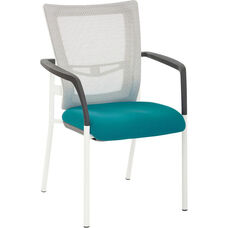 Pro-Line II ProGrid Mesh Back Visitors Chair with Padded Seat and White Finish Frame - Blue