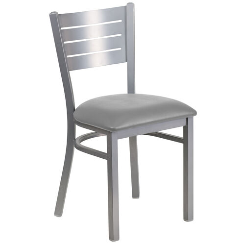 Our Silver Slat Back Metal Restaurant Chair with Custom Upholstered Seat is on sale now.