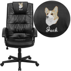 Embroidered High Back Black LeatherSoft Executive Swivel Office Chair with Arms